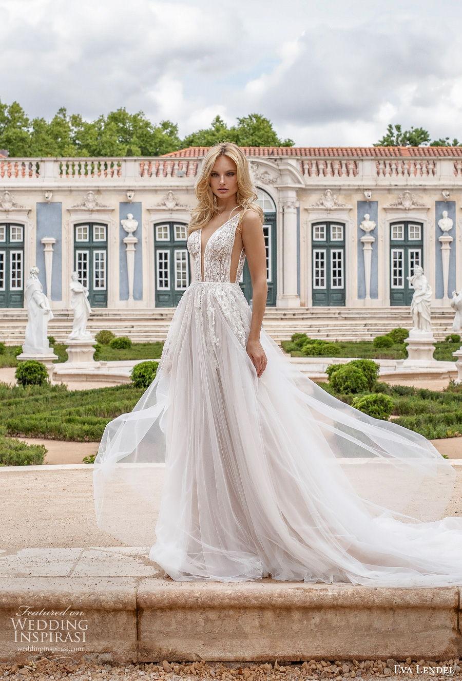 eva lendel 2020 lisbon vibes bridal sleeveless deep v neck heavily embellished bodice romantic soft a  line wedding dress backless v back chgapel train (6) mv