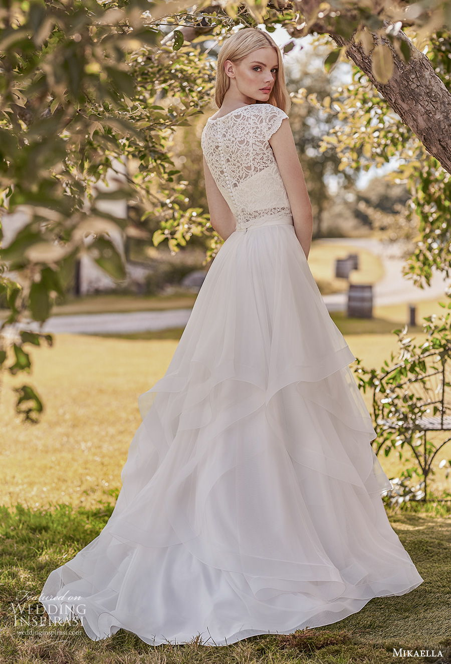 mikaella spring 2020 bridal cap sleeves bateau neckline heavily embellished bodice romantic modest a  line wedding dress covered lace back sweep train (2) bv