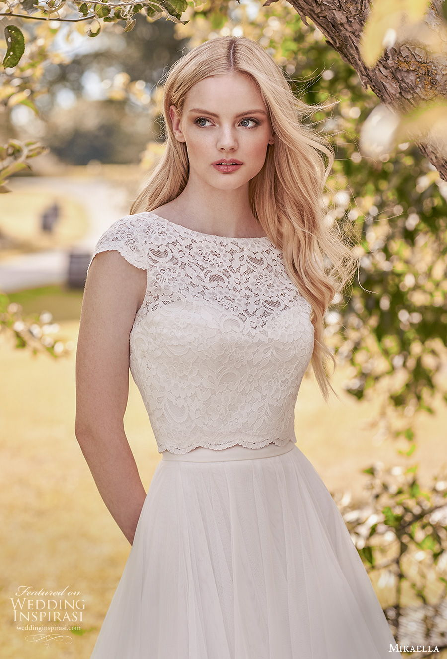 mikaella spring 2020 bridal cap sleeves bateau neckline heavily embellished bodice romantic modest a  line wedding dress covered lace back sweep train (2) zv
