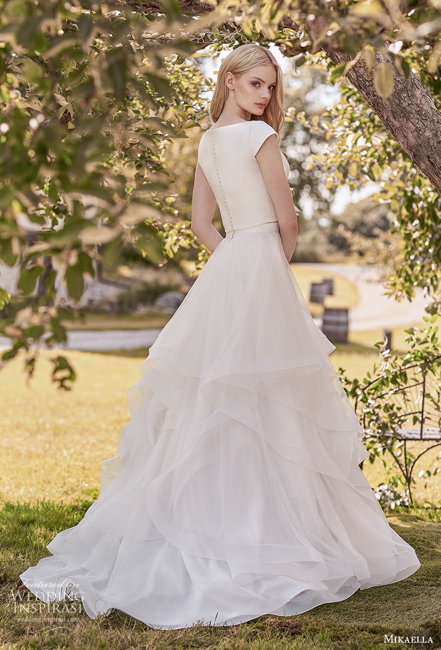 mikaella spring 2020 bridal cap sleeves bateau simple minimalist tiered skirt classic modest a  line wedding dress covered back sweep train (9) bv