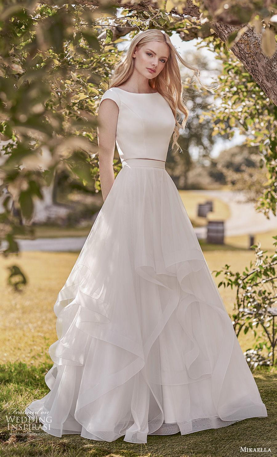mikaella spring 2020 bridal cap sleeves bateau simple minimalist tiered skirt classic modest a  line wedding dress covered back sweep train (9) mv