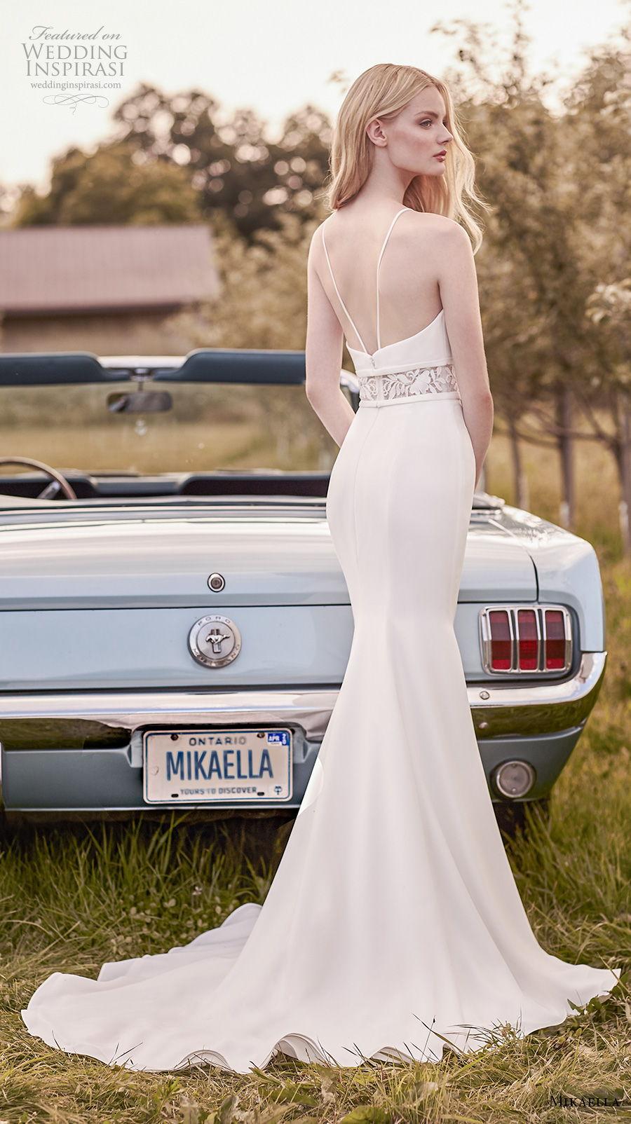 mikaella spring 2020 bridal sleeveles halter jewel neck simple elegant fit and flare sheath wedding dress backless medium train (15) bv