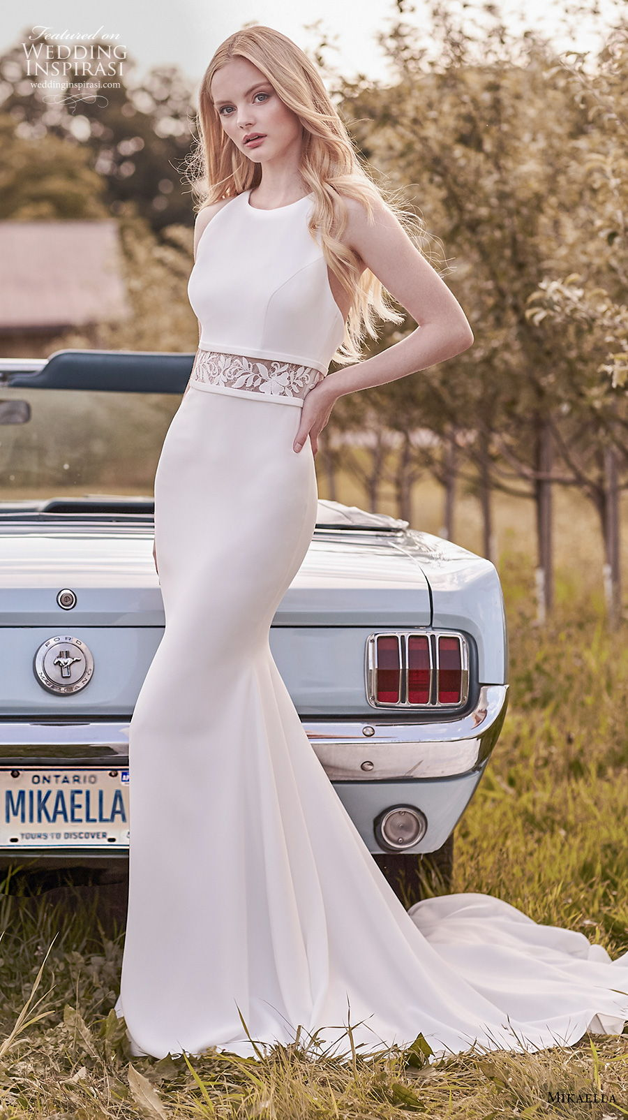 mikaella spring 2020 bridal sleeveles halter jewel neck simple elegant fit and flare sheath wedding dress backless medium train (15) mv