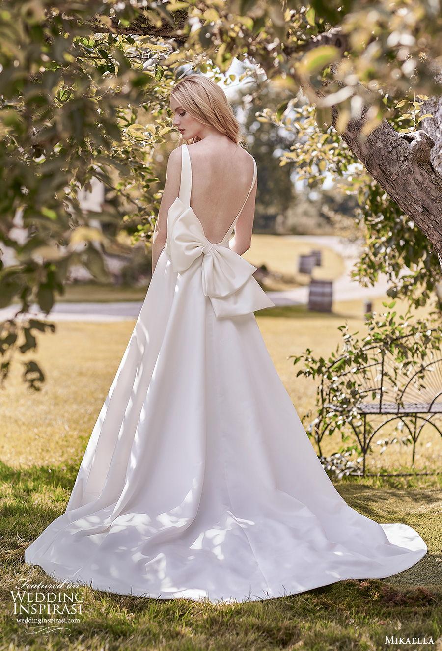 mikaella spring 2020 bridal sleeveless bateau neckline simple minimalist open side elegant a  line wedding dress with pockets backless ribbon back medium train (16) bv