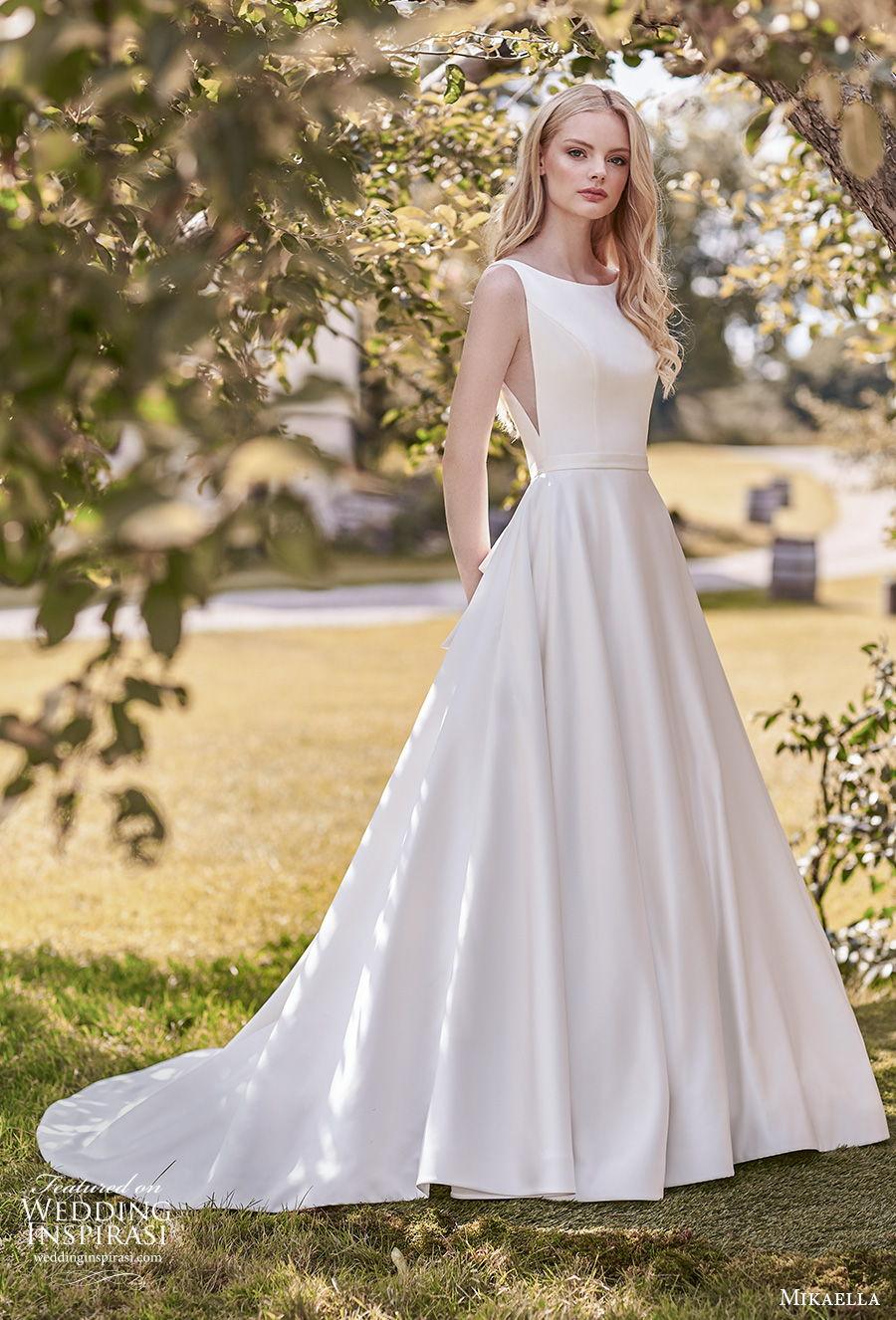 mikaella spring 2020 bridal sleeveless bateau neckline simple minimalist open side elegant a  line wedding dress with pockets backless ribbon back medium train (16) mv