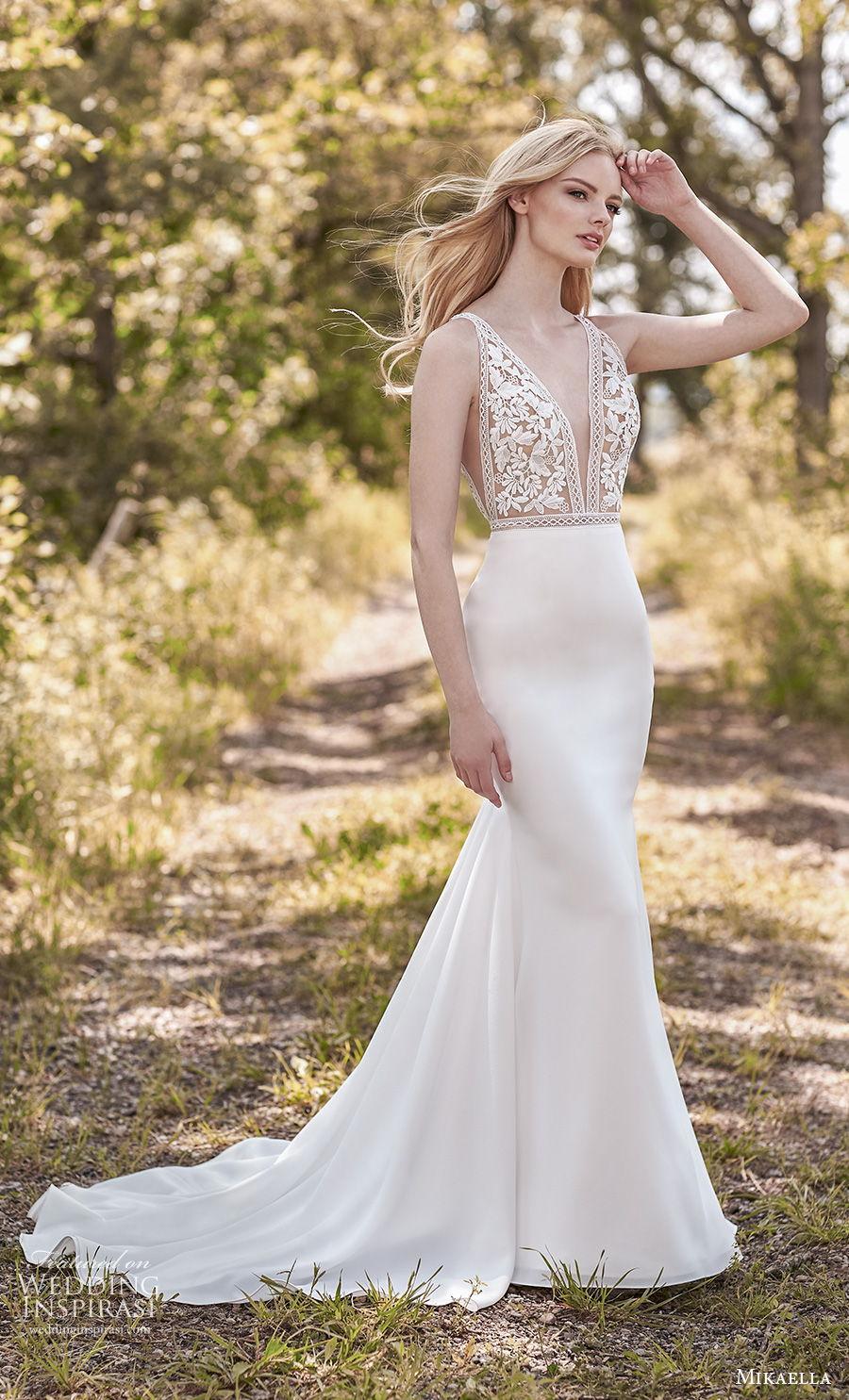 mikaella spring 2020 bridal sleeveless deep v neck heavily embellished bodice romantic sexy fit and flare sheath wedding dress v back medium train (10) mv