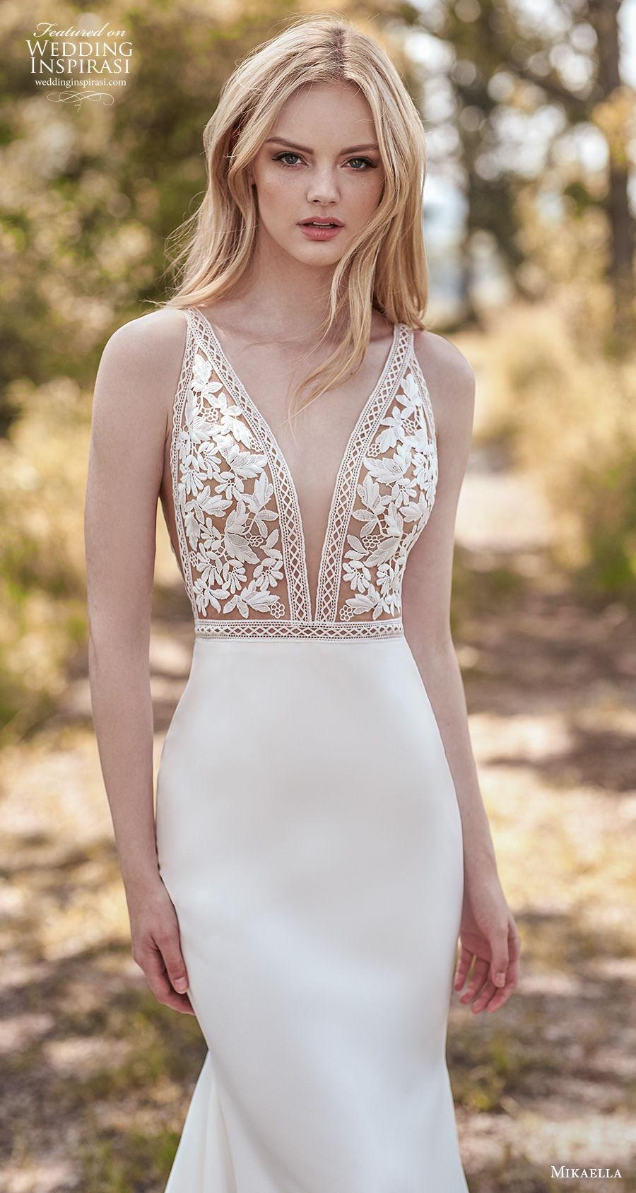 mikaella spring 2020 bridal sleeveless deep v neck heavily embellished bodice romantic sexy fit and flare sheath wedding dress v back medium train (10) zv