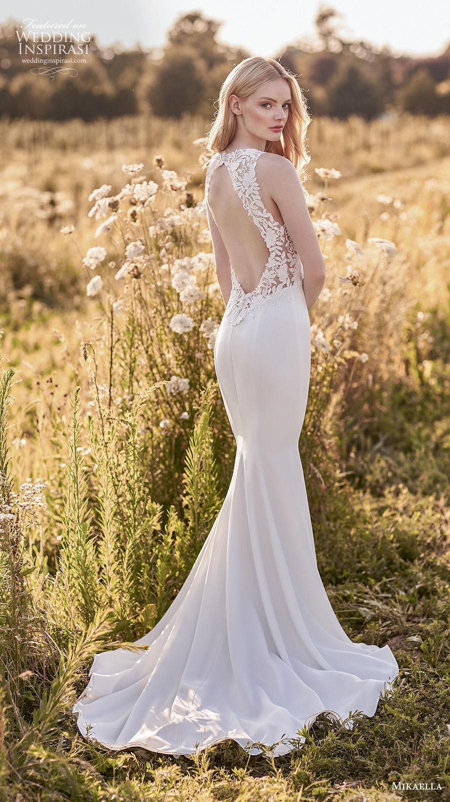 mikaella spring 2020 bridal sleeveless halter jewel neck simple minimalist elegant fit and flare sheath wedding dress keyhole low back short train (11) bv