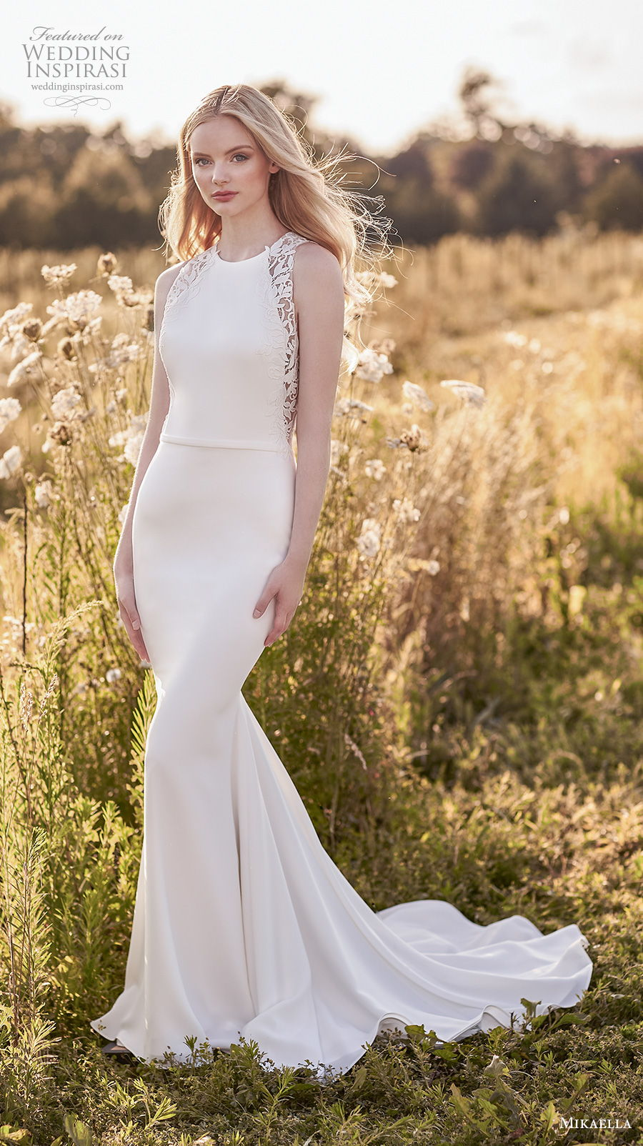 mikaella spring 2020 bridal sleeveless halter jewel neck simple minimalist elegant fit and flare sheath wedding dress keyhole low back short train (11) mv
