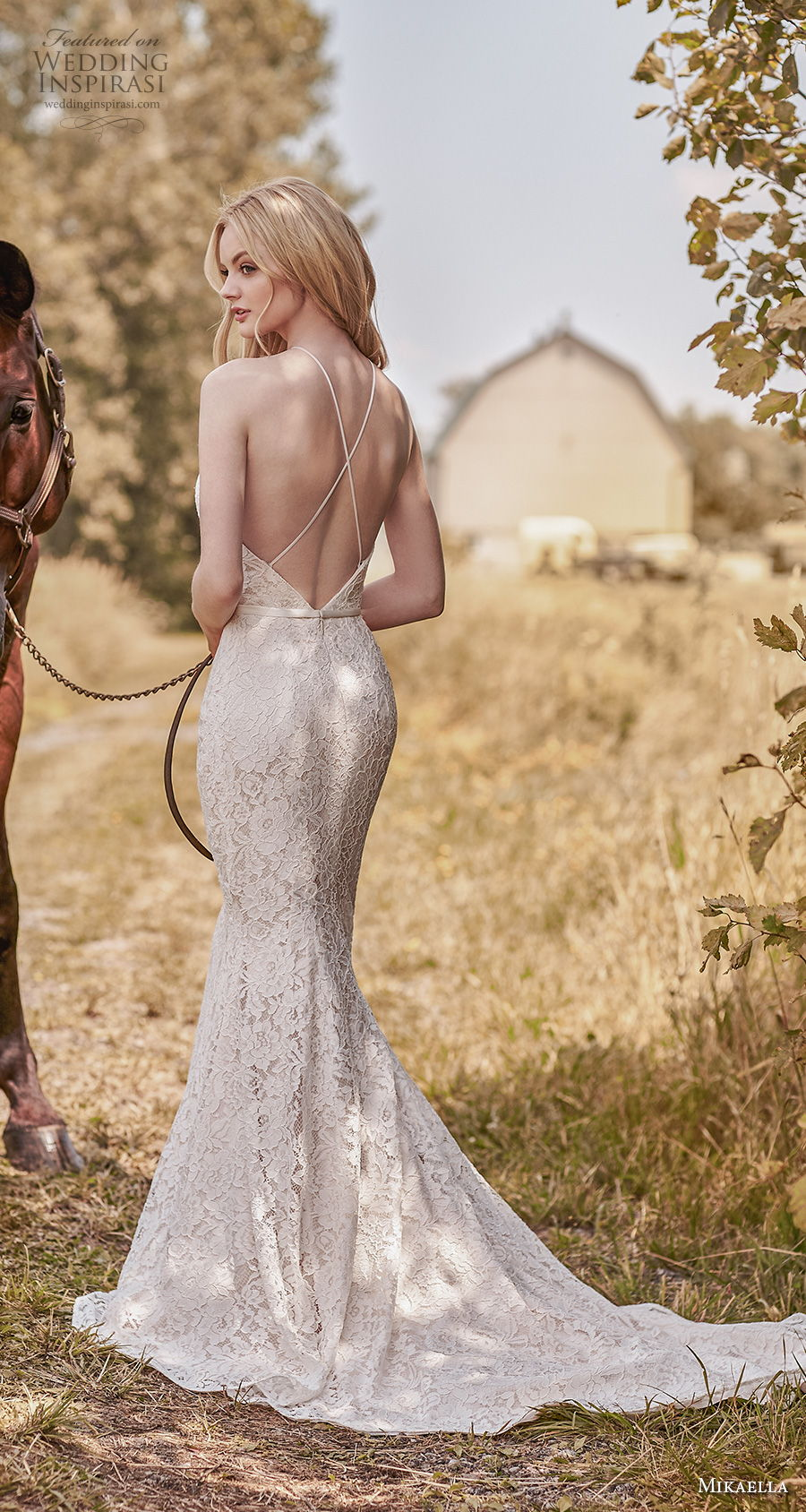 mikaella spring 2020 bridal sleeveless halter neck full embellishment elegant sexy sheath fit and flare wedding dress cross strap back chapel train (6) bv