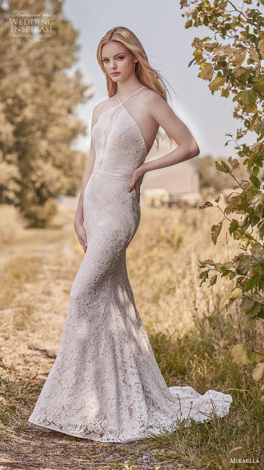 mikaella spring 2020 bridal sleeveless halter neck full embellishment elegant sexy sheath fit and flare wedding dress cross strap back chapel train (6) mv