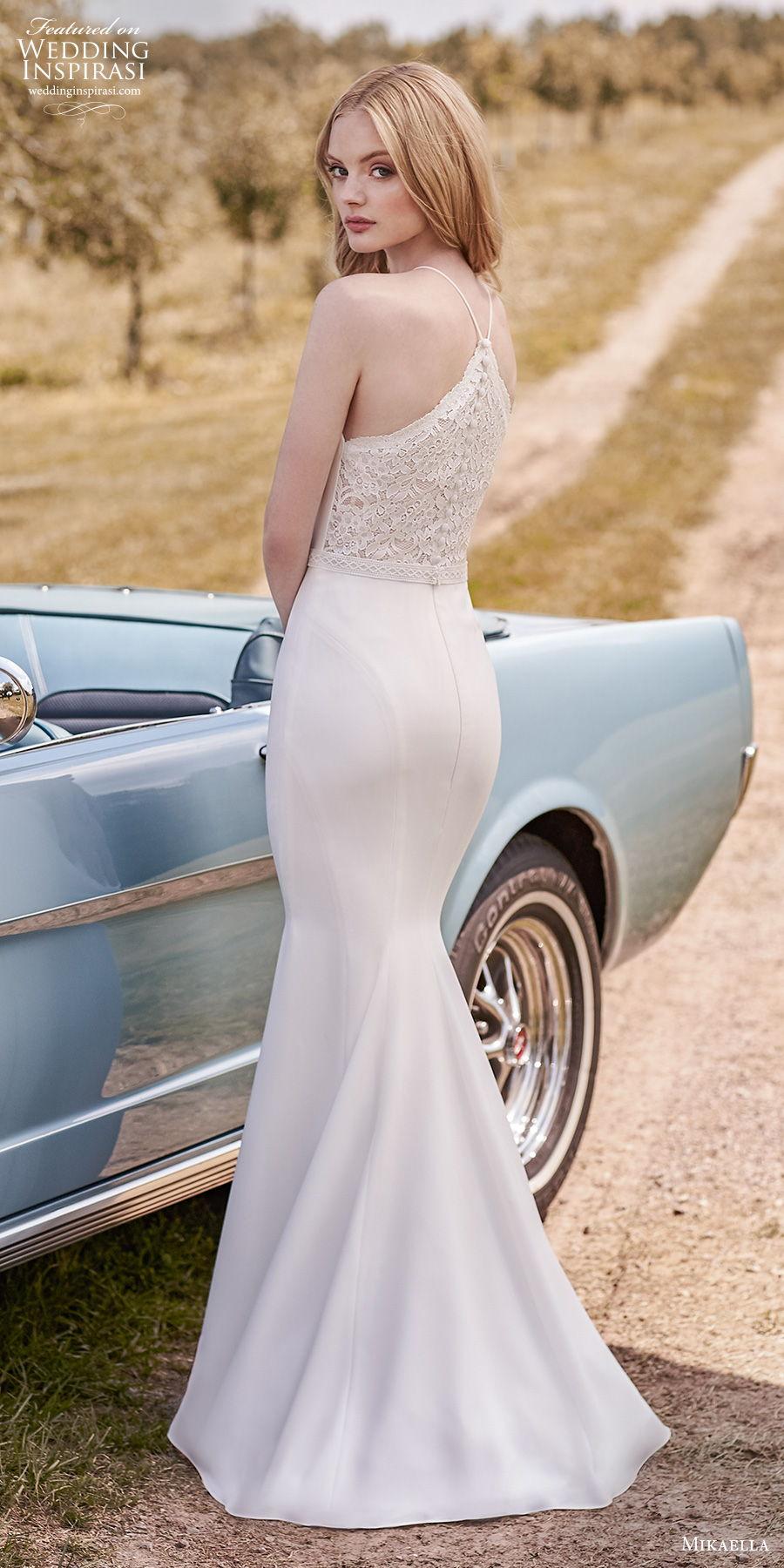 mikaella spring 2020 bridal sleeveless halter neck simple minimalist elegant sheath wedding dress rasor lace back sweep train (17) bv