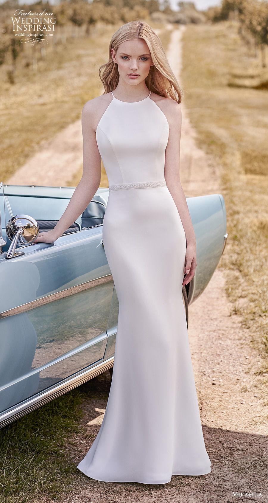 mikaella spring 2020 bridal sleeveless halter neck simple minimalist elegant sheath wedding dress rasor lace back sweep train (17) mv