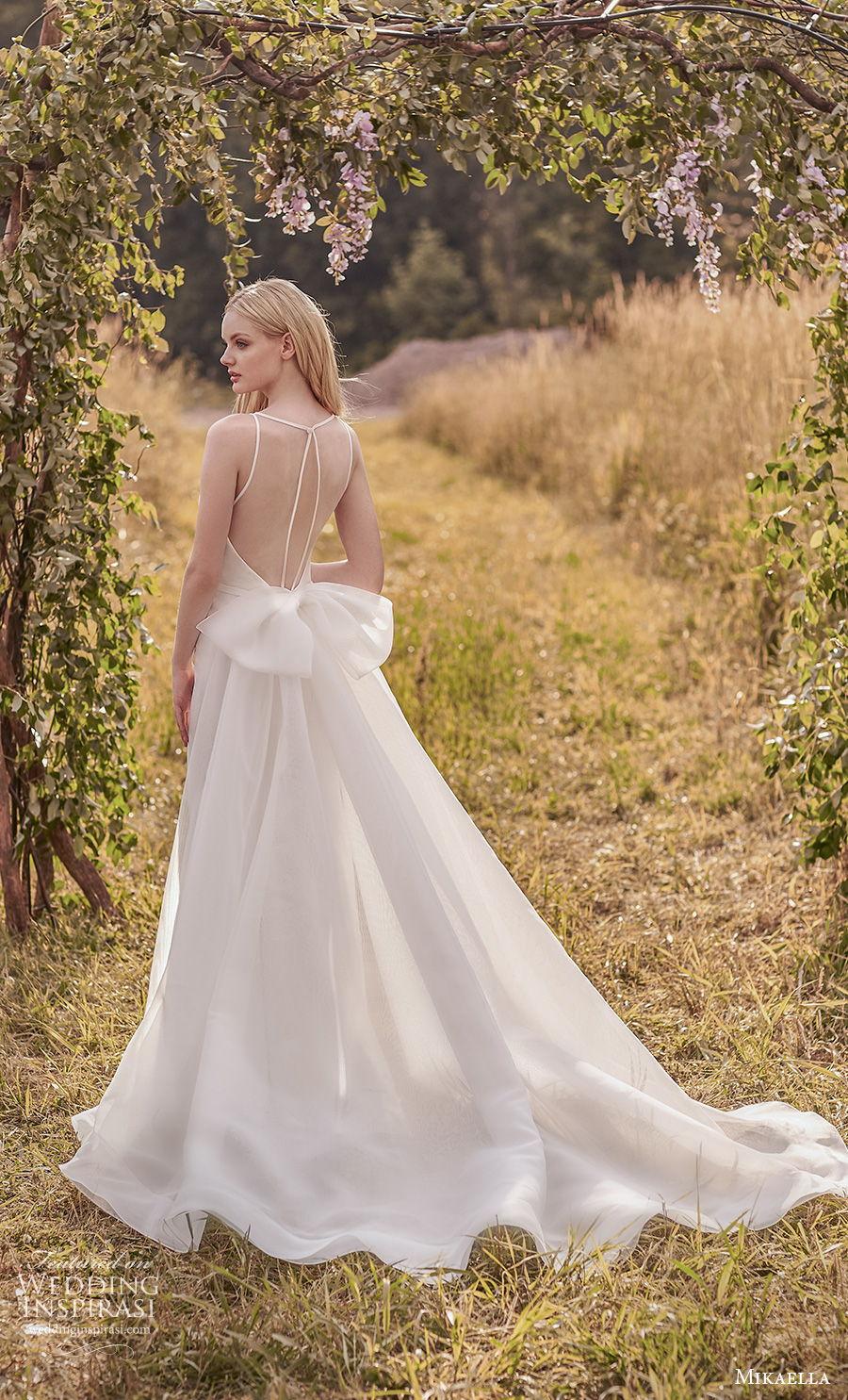 mikaella spring 2020 bridal sleeveless illusion bateau sweetheart neckline simple minimalist elegant fit and flare wedding dress a  line overskirt sheer keyhole back chapel train (1) bv