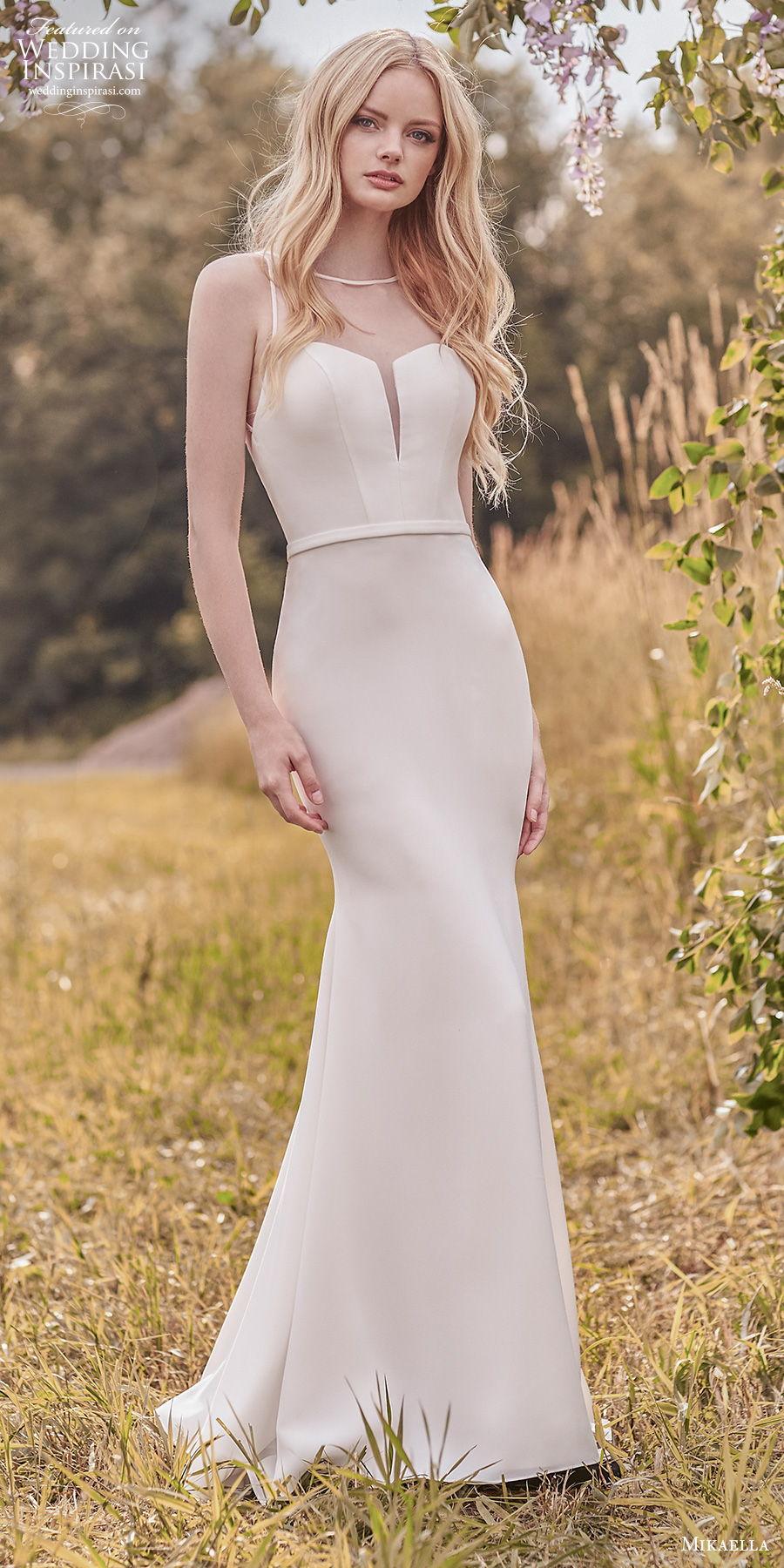 mikaella spring 2020 bridal sleeveless illusion bateau sweetheart neckline simple minimalist elegant fit and flare wedding dress sheer keyhole back chapel train (1) lv