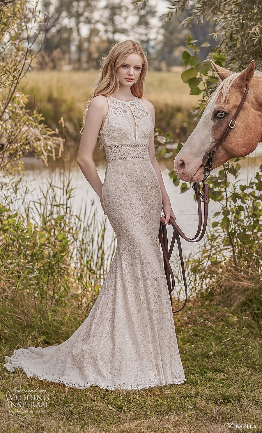 mikaella spring 2020 bridal sleeveless jewel halter neck full embellishment elegant fit and flare mermaid wedding dress keyhole back medium train (4) mv