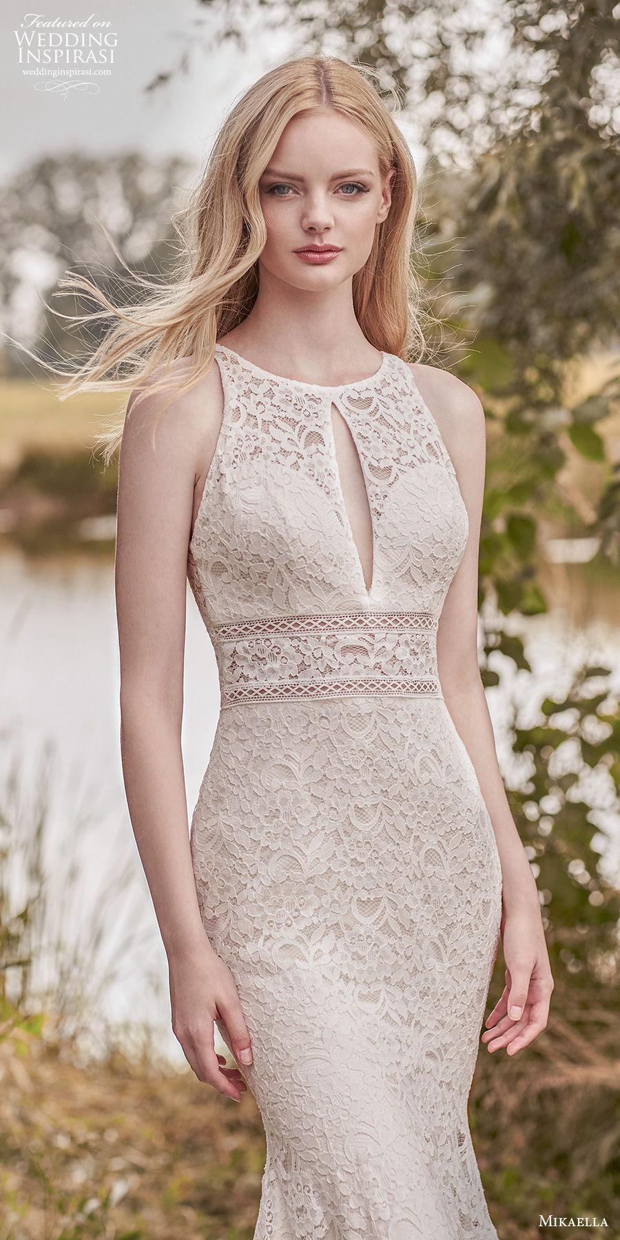 mikaella spring 2020 bridal sleeveless jewel halter neck full embellishment elegant fit and flare mermaid wedding dress keyhole back medium train (4) zv