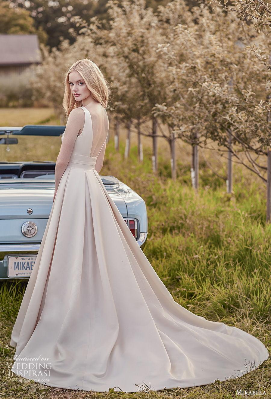 mikaella spring 2020 bridal sleeveless jewel neck simple minimalist pleated skirt elegant classic a  line wedding dress with pockets backless chapel train (5) bv