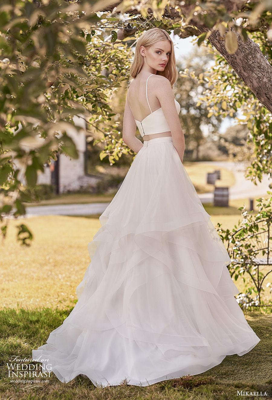 mikaella spring 2020 bridal sleeveless spaghetti strap sweetheart neckline simple minimalist crop top 2 piece tiered skirt a  line wedding dress sweep train (14) bv
