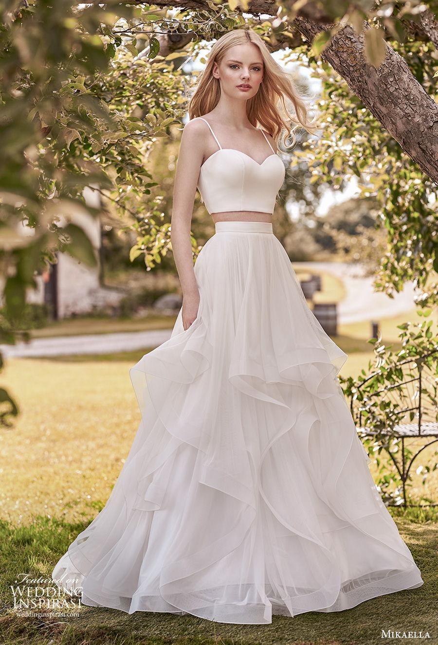mikaella spring 2020 bridal sleeveless spaghetti strap sweetheart neckline simple minimalist crop top 2 piece tiered skirt a  line wedding dress sweep train (14) mv