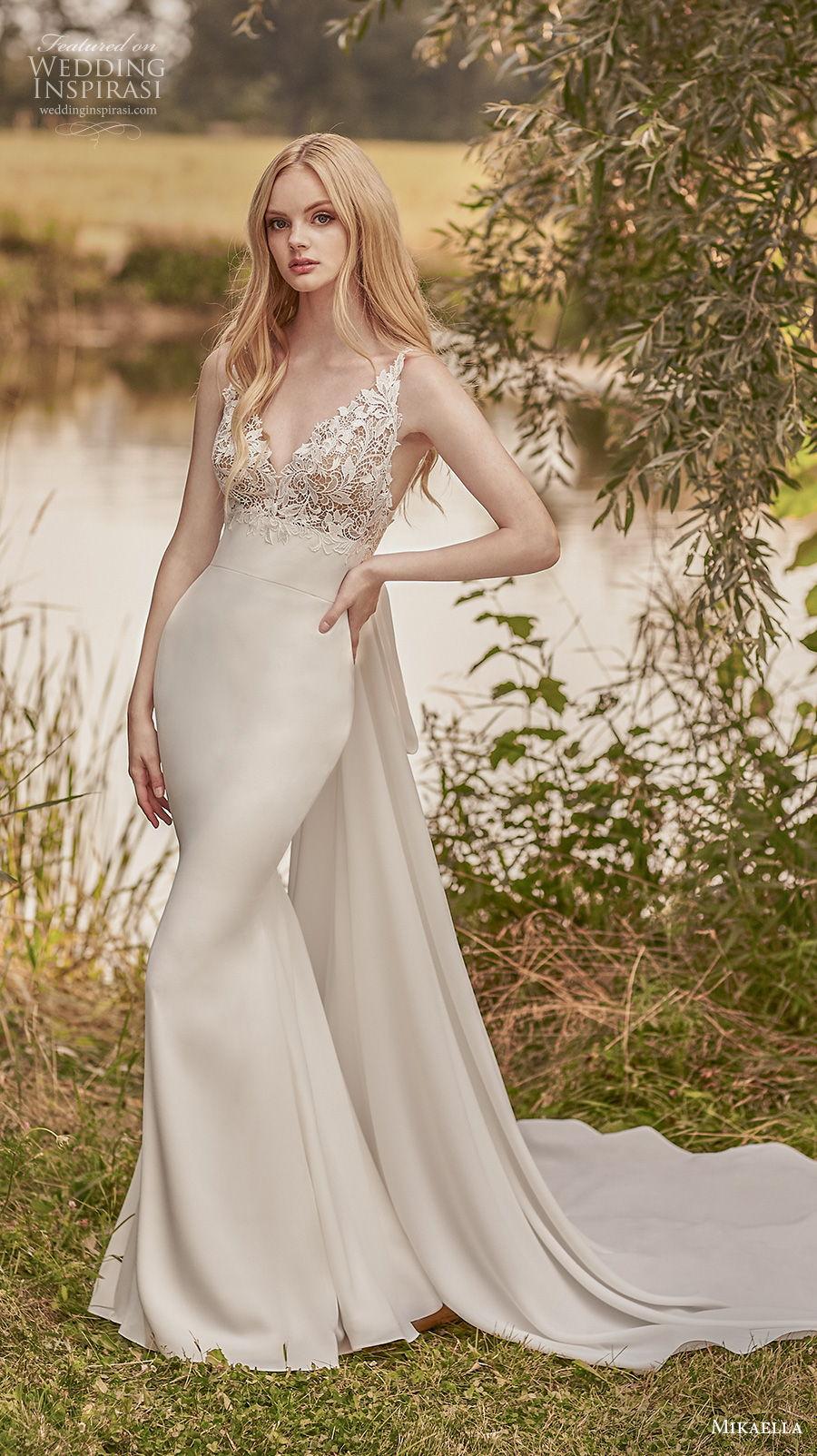 mikaella spring 2020 bridal sleeveless v neck heavily embellished bodice elegant fit and flare wedding dress a  line overskirt backless v back sweep train (3) mv