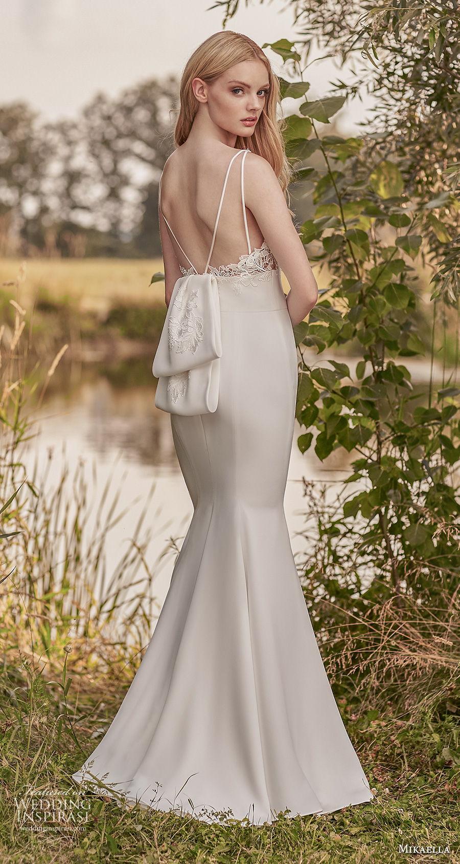 mikaella spring 2020 bridal sleeveless v neck heavily embellished bodice elegant fit and flare wedding dress backless v back sweep train (3) bv