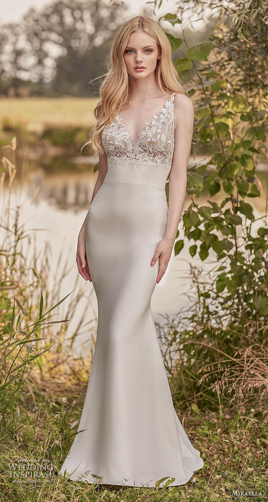 mikaella spring 2020 bridal sleeveless v neck heavily embellished bodice elegant fit and flare wedding dress backless v back sweep train (3) mv