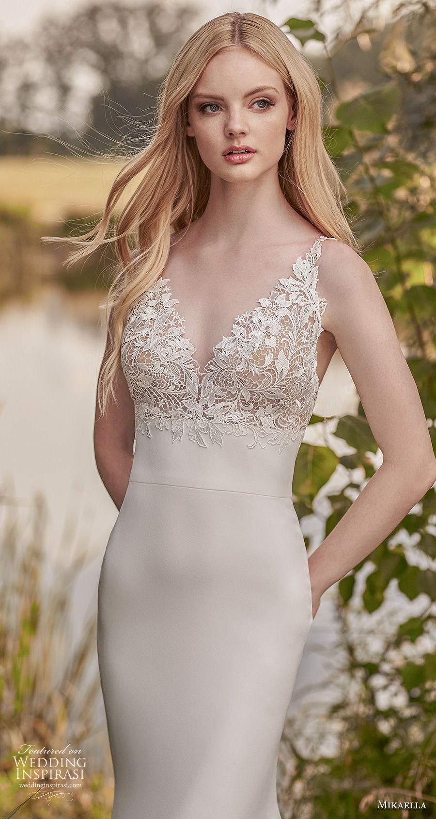 mikaella spring 2020 bridal sleeveless v neck heavily embellished bodice elegant fit and flare wedding dress backless v back sweep train (3) zv
