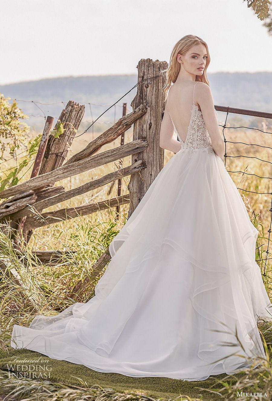 mikaella spring 2020 bridal spaghetti strap deep sweetheart neckline heavily embellished bodice tiered skirt romantic a  line wedding dress backless low back medium train (8) bv
