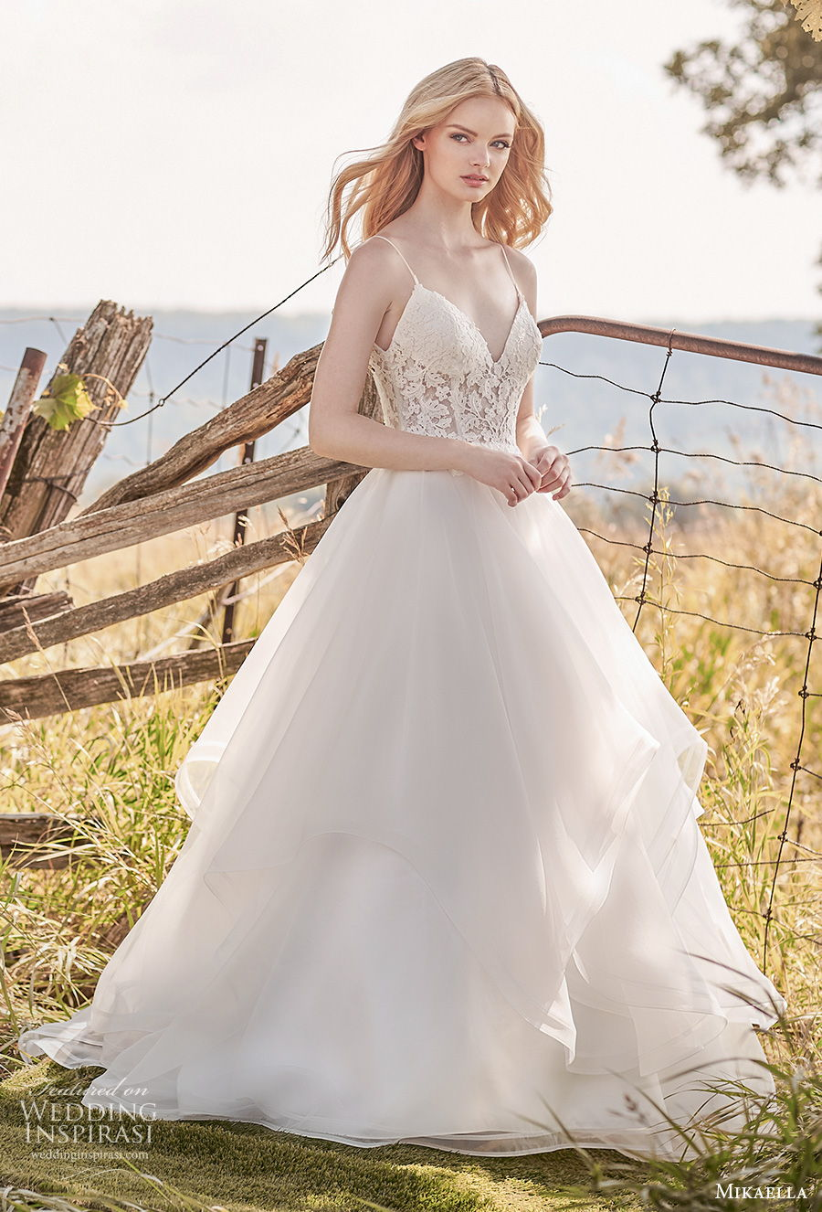 mikaella spring 2020 bridal spaghetti strap deep sweetheart neckline heavily embellished bodice tiered skirt romantic a  line wedding dress backless low back medium train (8) mv