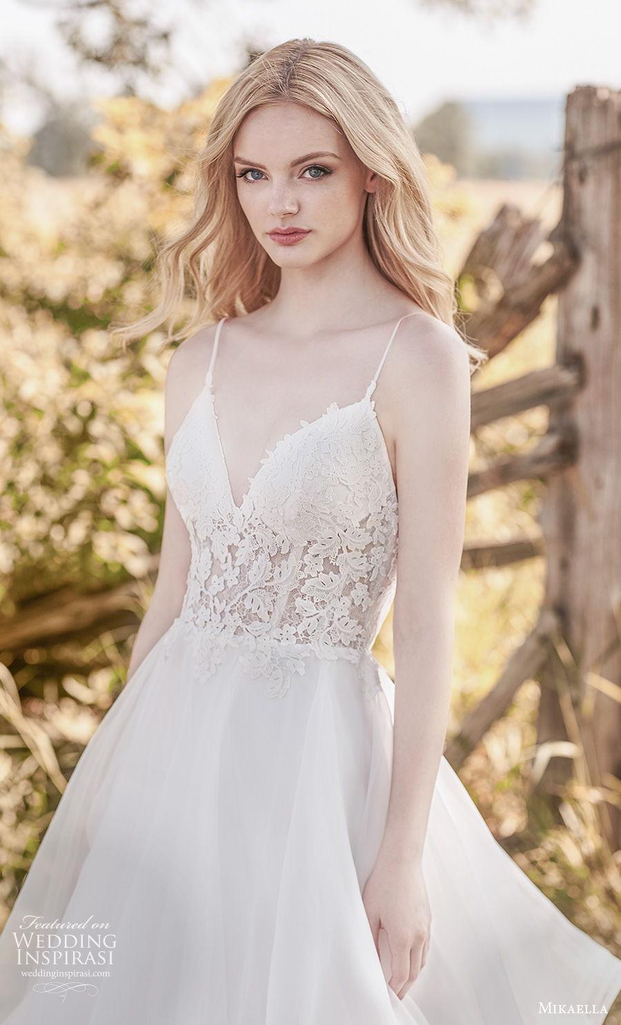 mikaella spring 2020 bridal spaghetti strap deep sweetheart neckline heavily embellished bodice tiered skirt romantic a  line wedding dress backless low back medium train (8) zv