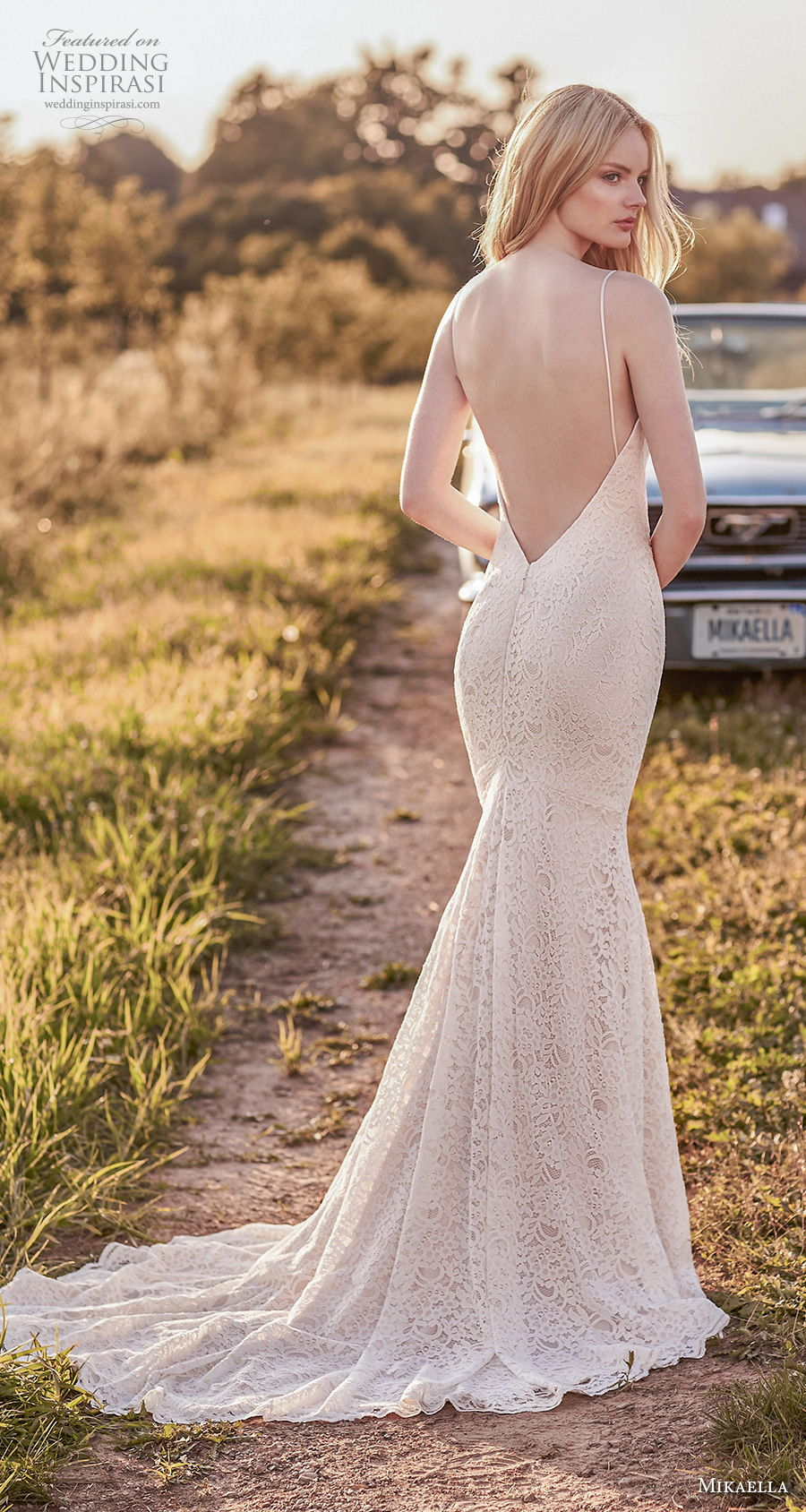 mikaella spring 2020 bridal spaghetti strap sweetheart neckline full embellishment elegant fit and flare sheath wedding dress backless low back short train (7) bv