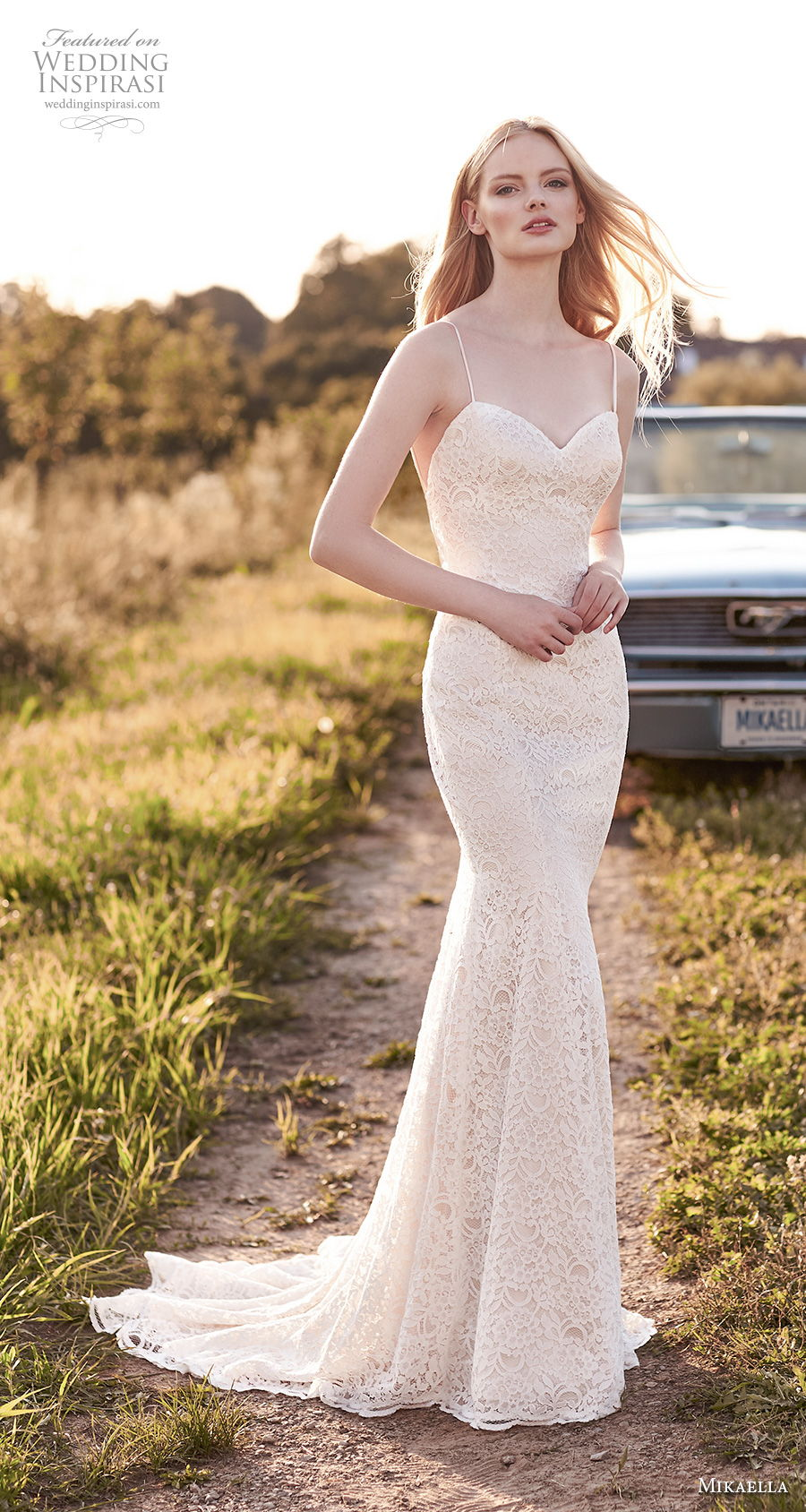 mikaella spring 2020 bridal spaghetti strap sweetheart neckline full embellishment elegant fit and flare sheath wedding dress backless low back short train (7) mv