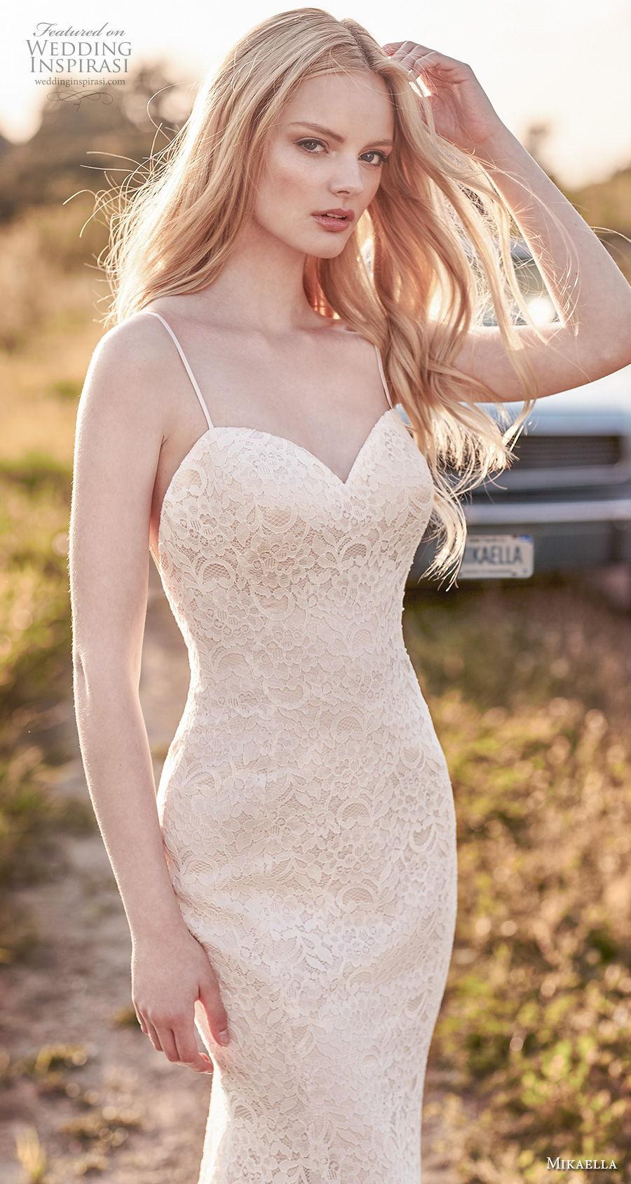mikaella spring 2020 bridal spaghetti strap sweetheart neckline full embellishment elegant fit and flare sheath wedding dress backless low back short train (7) zv