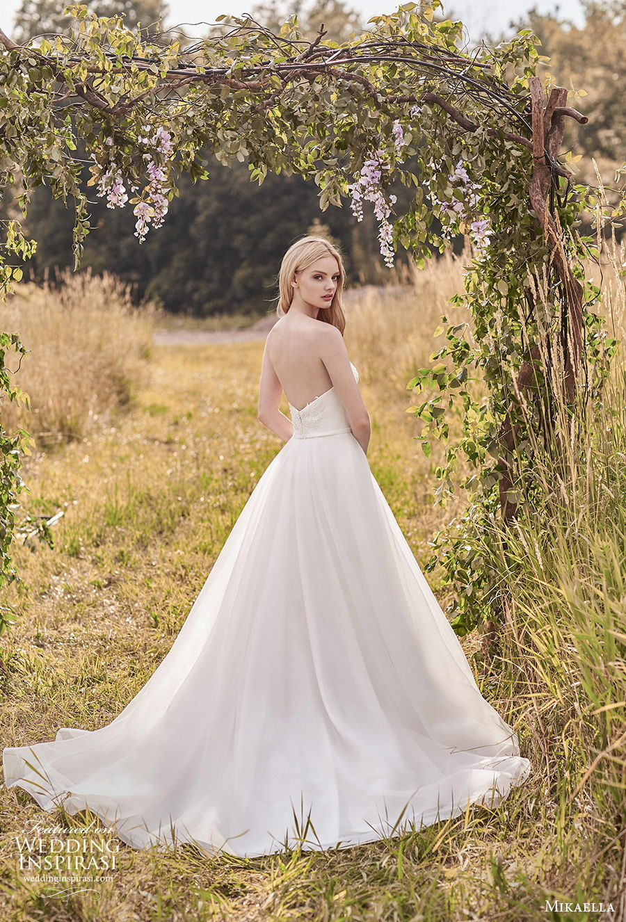 mikaella spring 2020 bridal strapless sweetheart neckline heavily embellished bodice romantic a  line wedding dress mid back medium train (12) bv