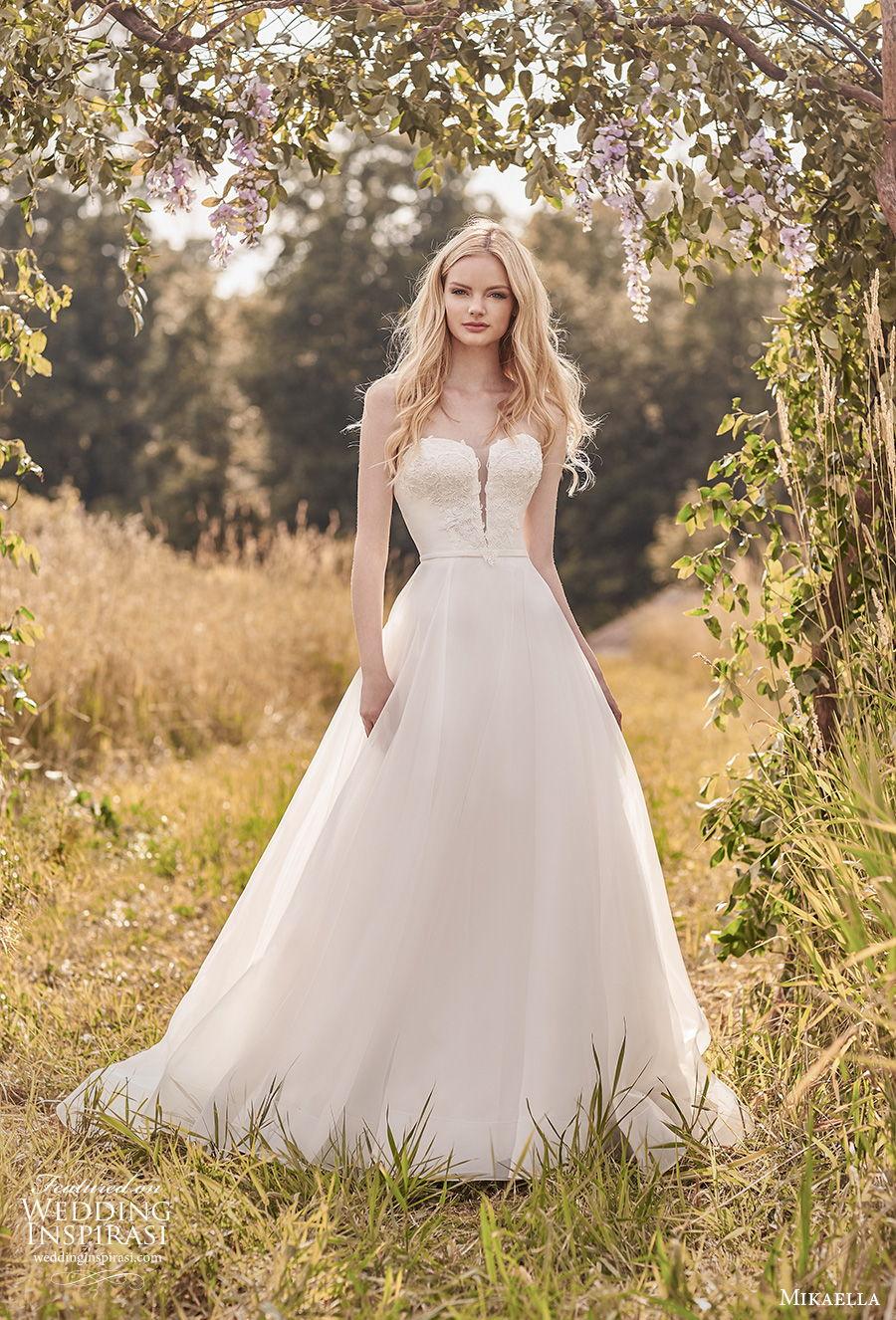 mikaella spring 2020 bridal strapless sweetheart neckline heavily embellished bodice romantic a  line wedding dress mid back medium train (12) mv