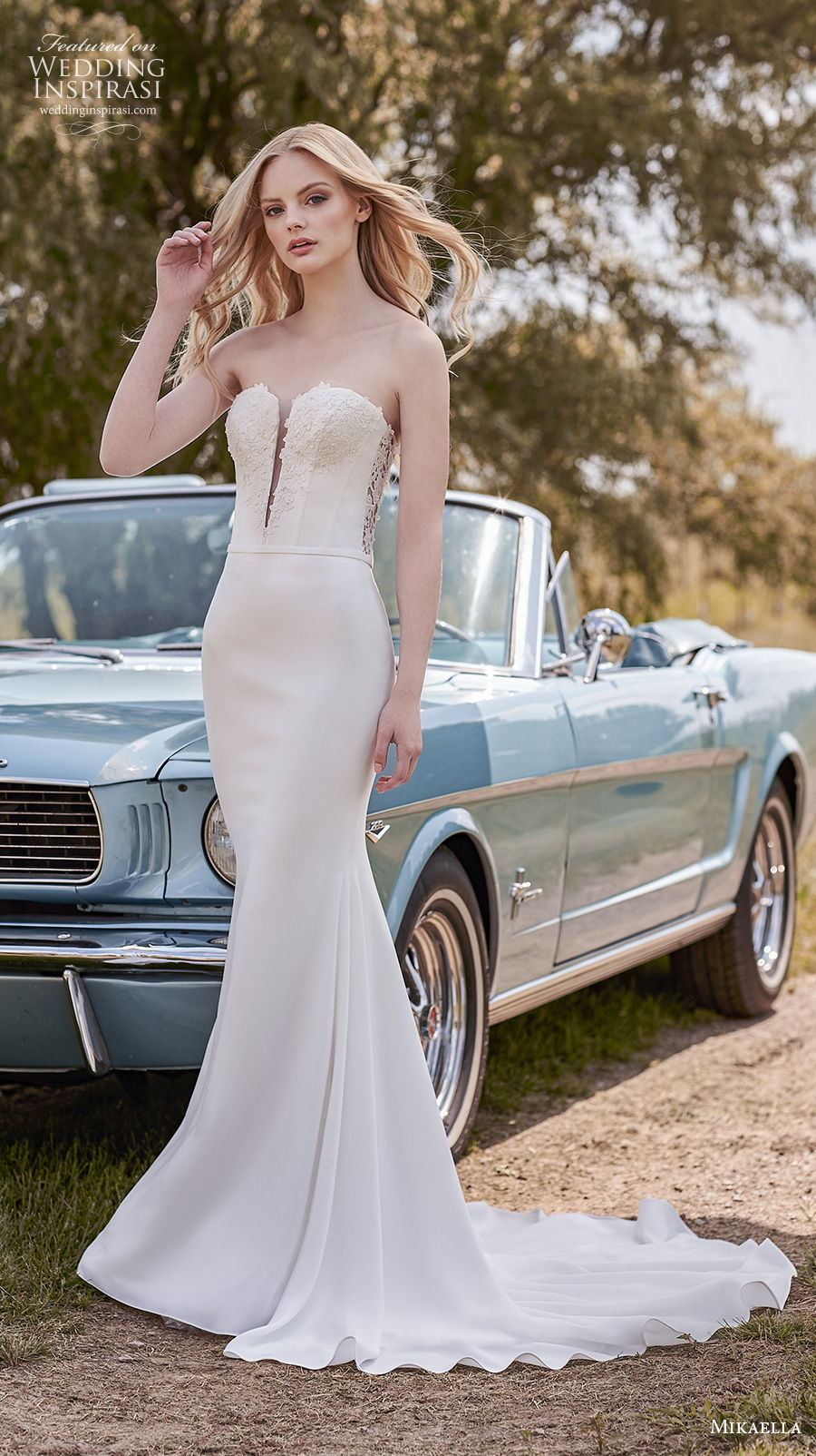 mikaella spring 2020 bridal strapless sweetheart neckline heavily embellished bustier bodice elegant fit and flare sheath wedding dress backless medium train (13) mv