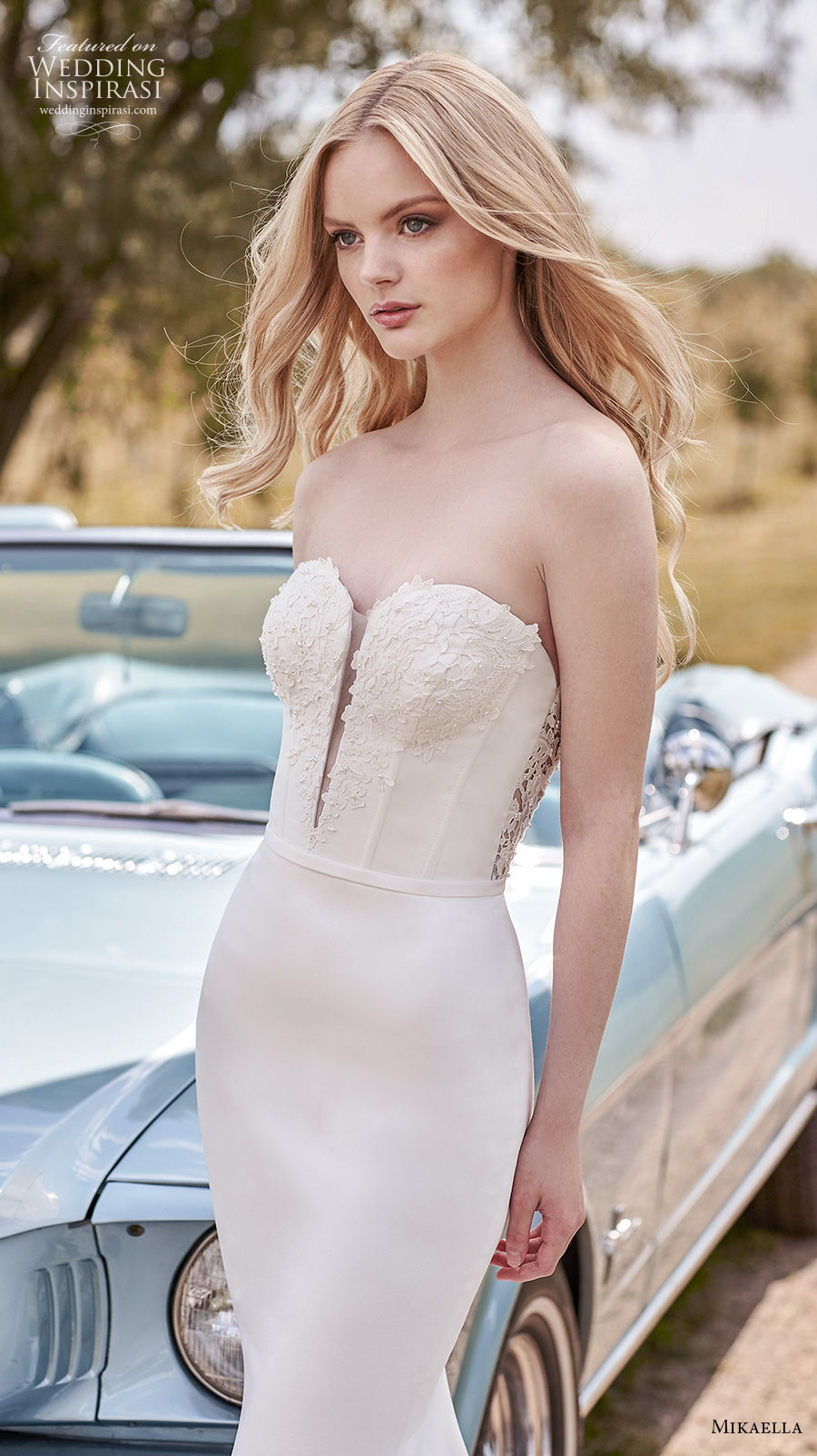 mikaella spring 2020 bridal strapless sweetheart neckline heavily embellished bustier bodice elegant fit and flare sheath wedding dress backless medium train (13) zv