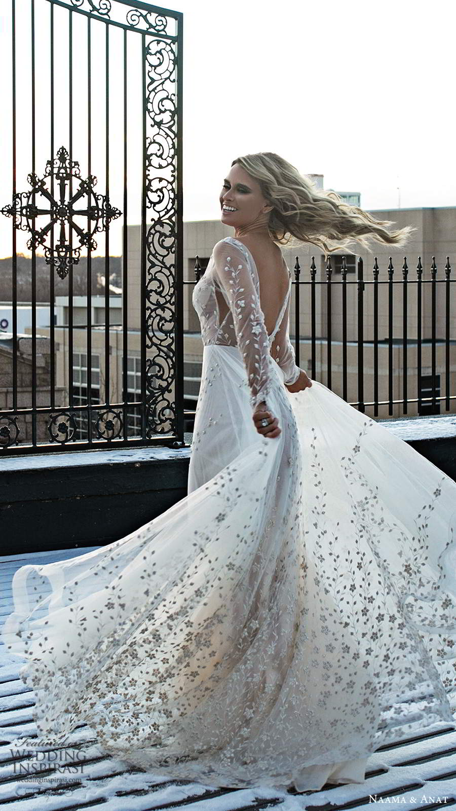 naama and anat 2020 silhouette bridal illusion long sleeves plunging v neckline heavily embellished a line ball gown wedding dress v back chapel train (4) bv