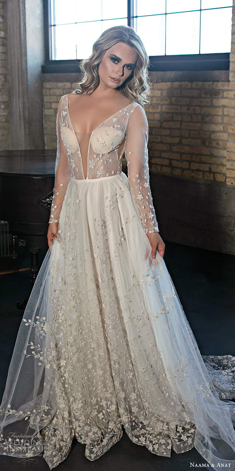 naama and anat 2020 silhouette bridal illusion long sleeves plunging v neckline heavily embellished a line ball gown wedding dress v back chapel train (4) fv