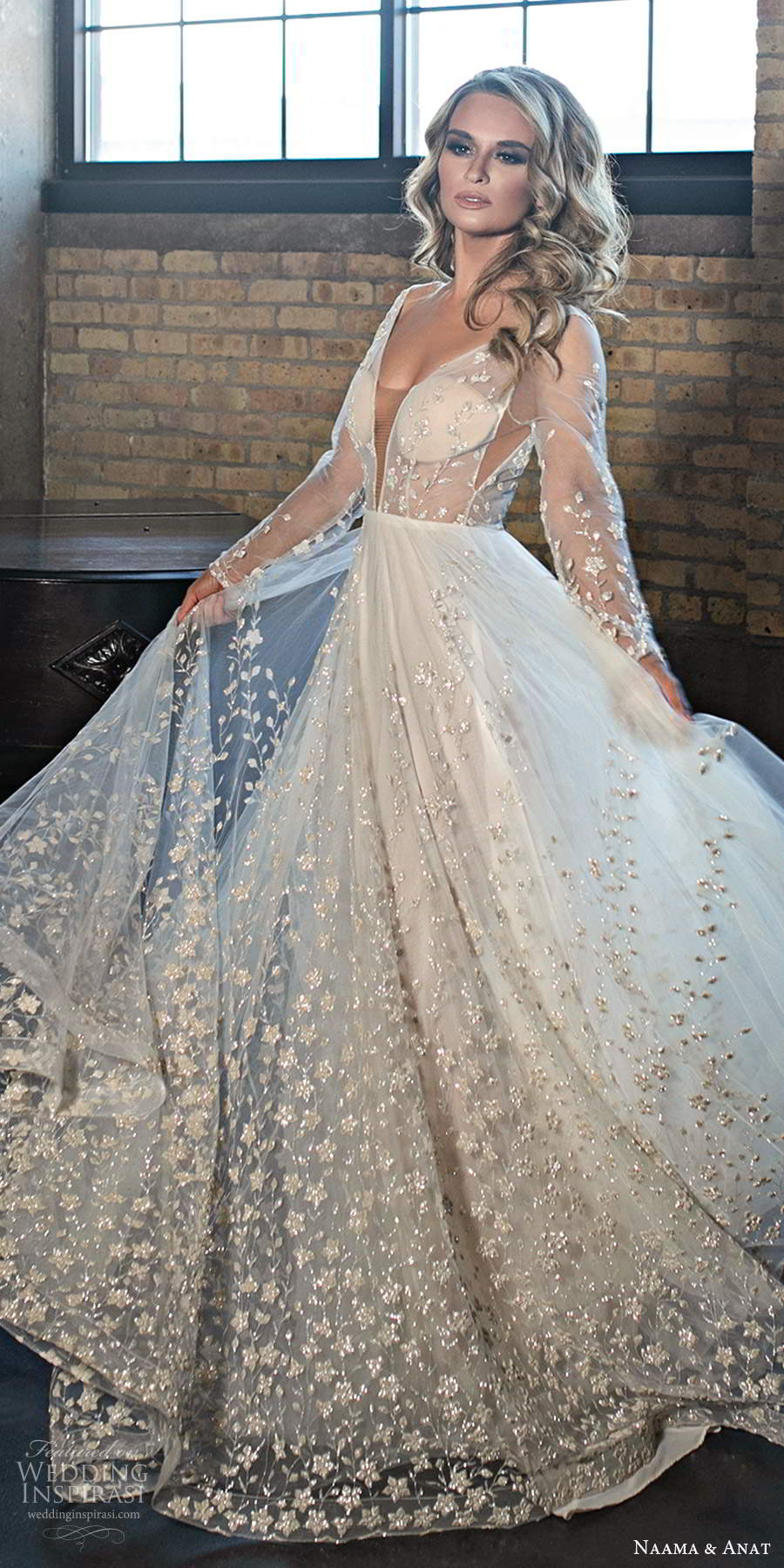 naama and anat 2020 silhouette bridal illusion long sleeves plunging v neckline heavily embellished a line ball gown wedding dress v back chapel train (4) lv