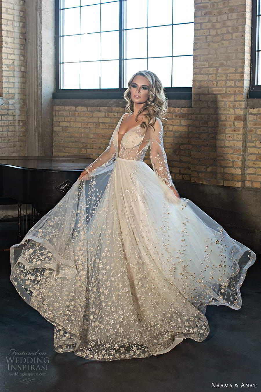 naama and anat 2020 silhouette bridal illusion long sleeves plunging v neckline heavily embellished a line ball gown wedding dress v back chapel train (4) mv