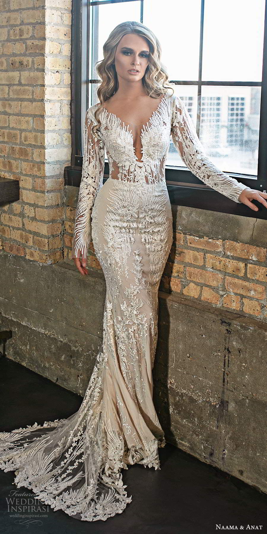 naama and anat 2020 silhouette bridal long sleeves illusion plunging v neckline fully embellished lace sheath wedding dress chapel train (9) mv