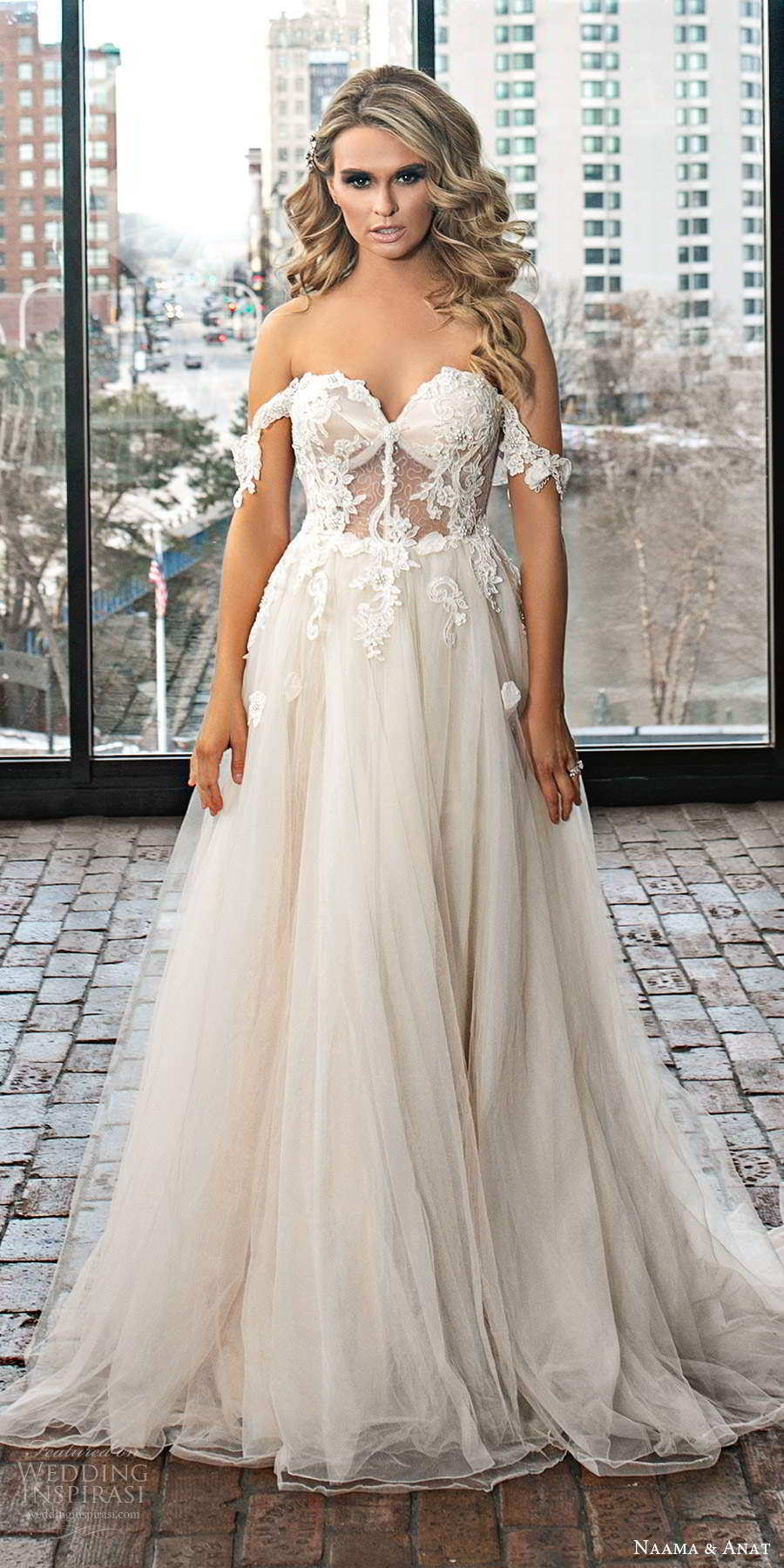 naama and anat 2020 silhouette bridal off shoulder straps sweetheart neckline embellished sheer bodice a line princess ball gown wedding dress chapel train (10) mv