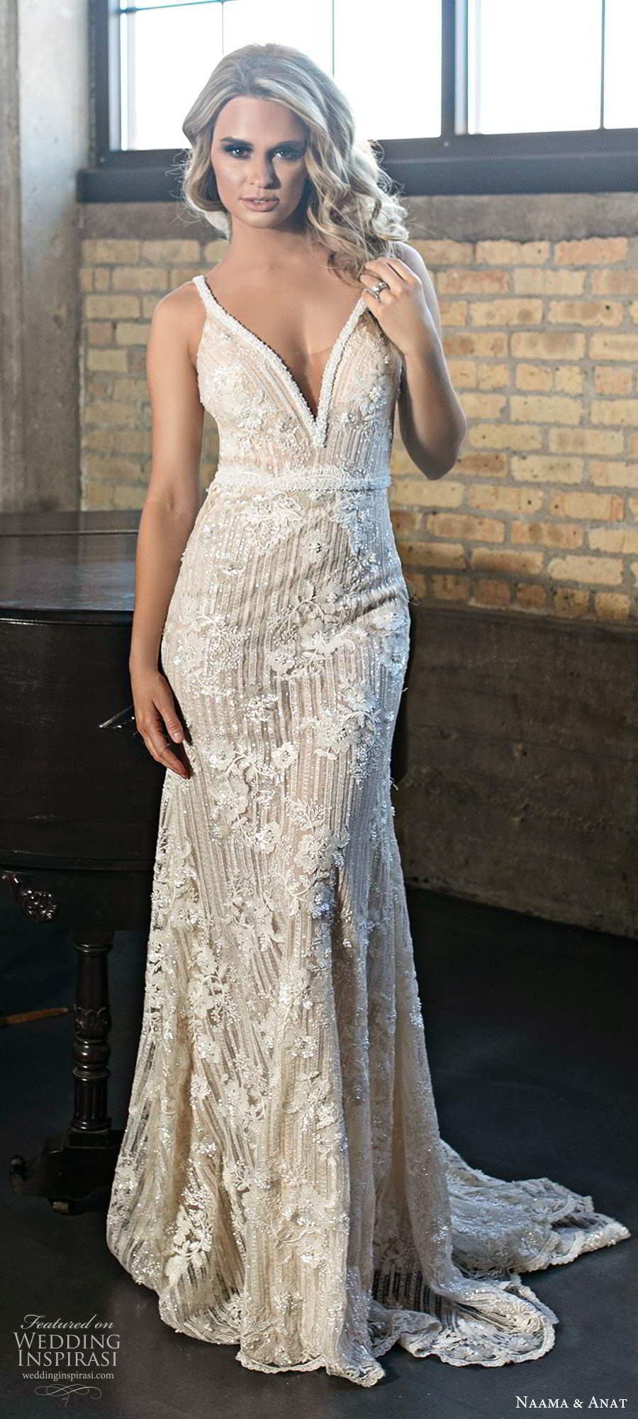 naama and anat 2020 silhouette bridal sleeveless beaded straps plunging v neckline heavily embellished sheath wedding dress chapel train (5) mv