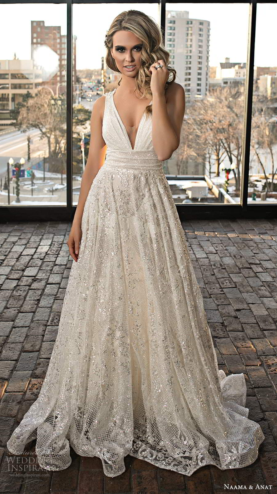 naama and anat 2020 silhouette bridal sleeveless thick straps plunging v neckline ruched bodice fully embellished a line ball gown wedding dress chapel train (6) mv