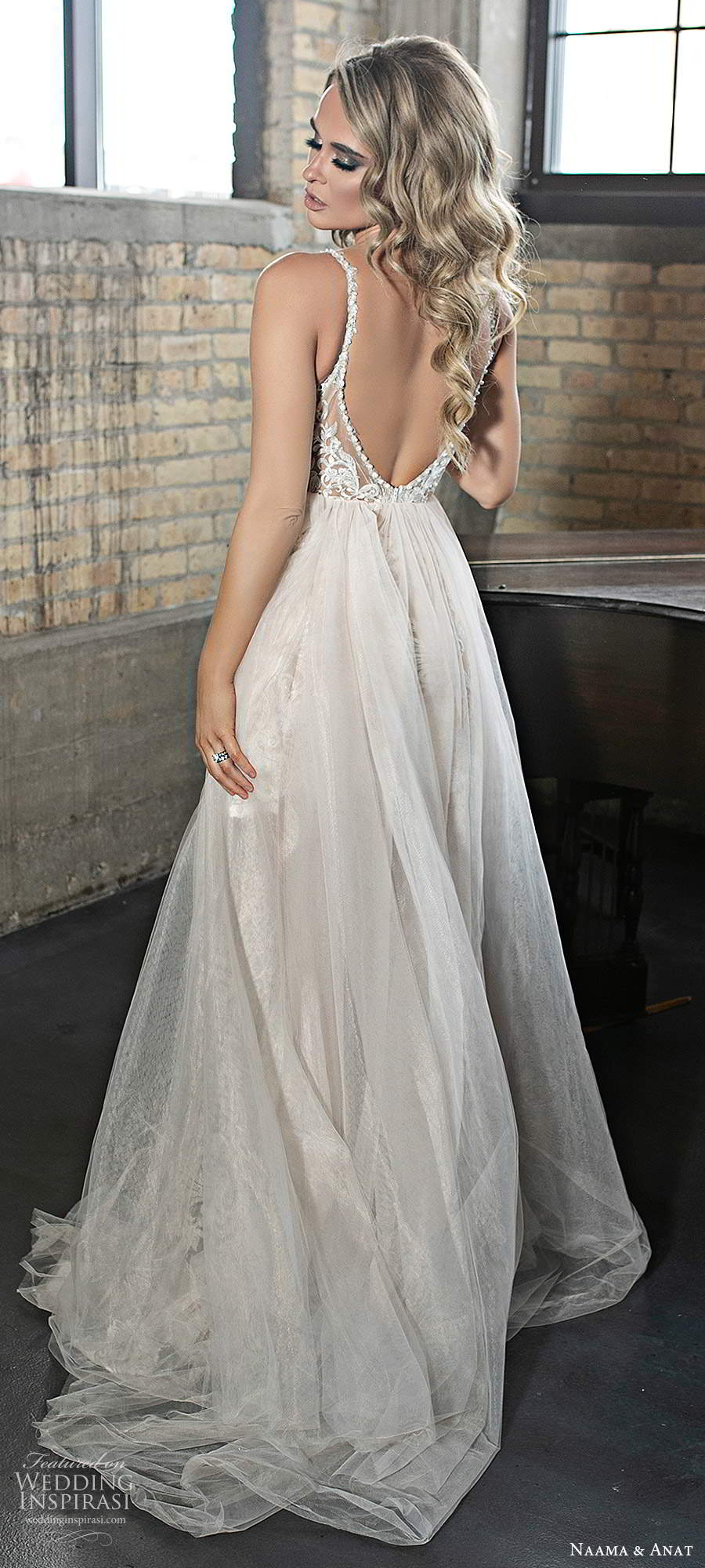 naama and anat 2020 silhouette bridal sleeveless thin straps plunging v neckline embellished lace sheer bodice a line wedding dress slit skirt chapel train (3) bv