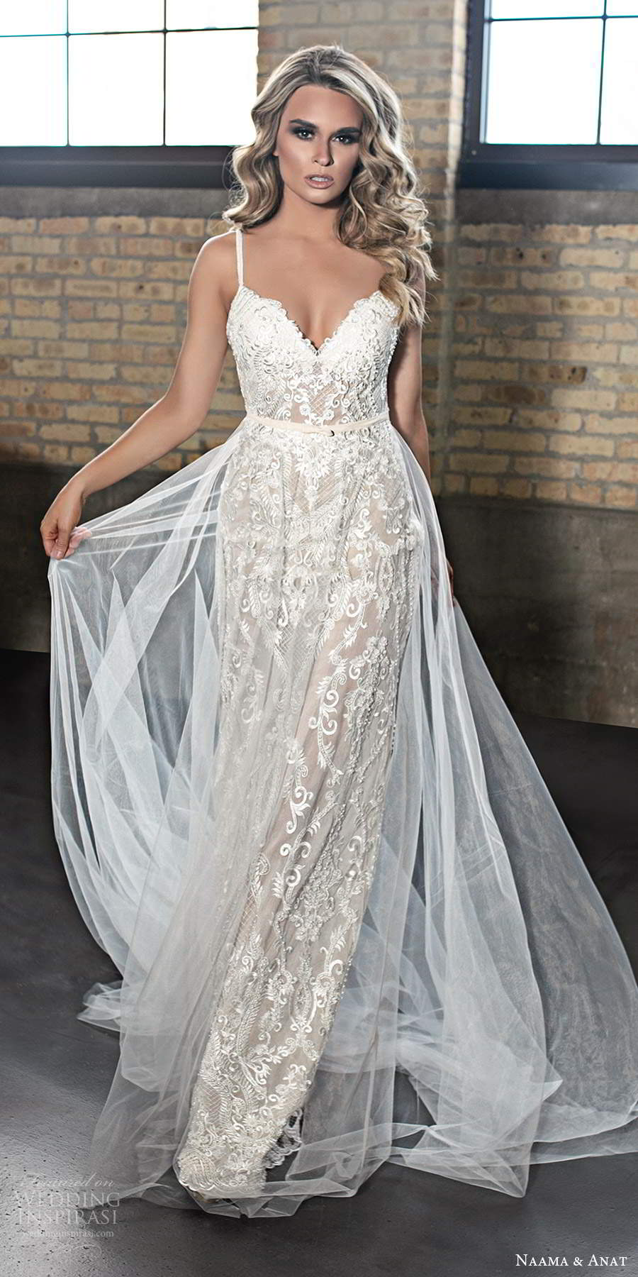 naama and anat 2020 silhouette bridal sleeveless thin straps sweetheart neckline heavily embellished lace a line wedding dress chapel train (7) mv