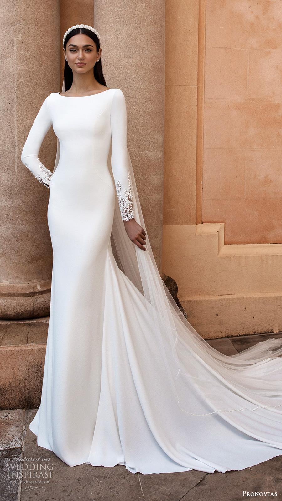 pronovias 2020 long sleeves bateau neckline sheath wedding dress chapel train (1) mv