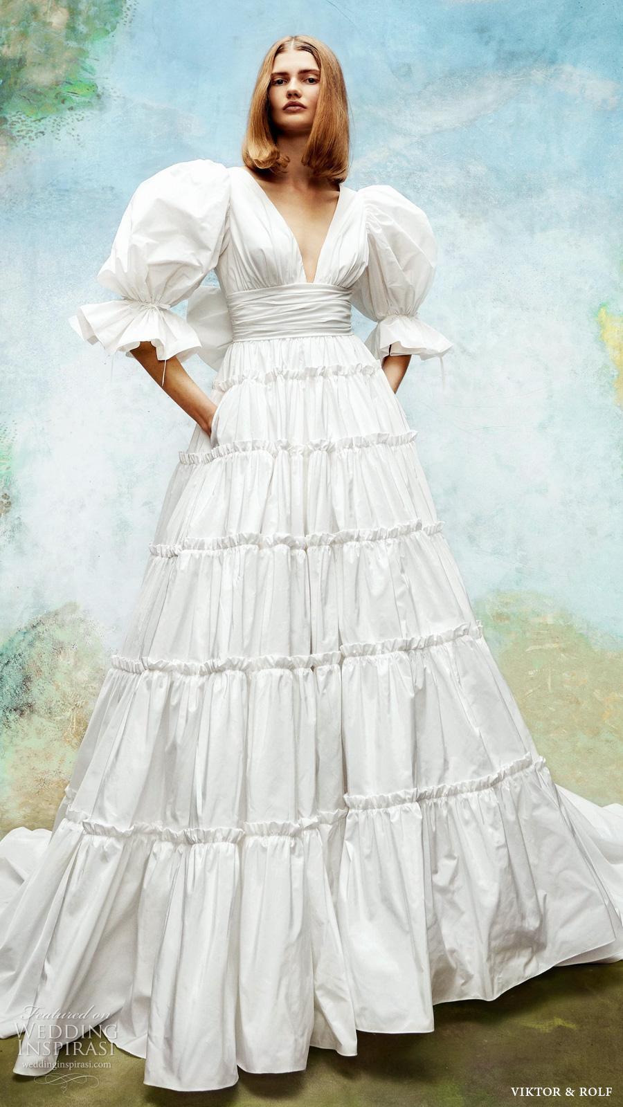 viktor rolf 2020 bridal puff sleeve half sleeve v neckline a line ball gown tafetta wedding dress (1) mv